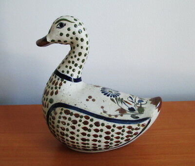 Tonala Duck Figurine by TIZ Mexico Folk Art Pottery Blue Brown Flowers Signed
