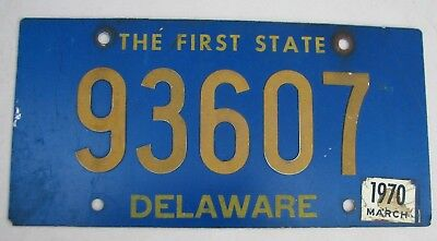 "Delaware 1970 Auto Passenger License Plate "" 93607 "" De The First State"