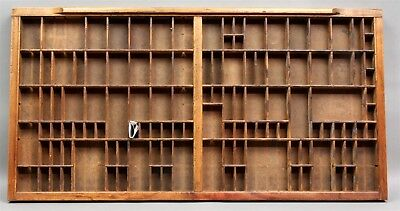 """Antique PRINTER'S TYPESETTER'S DOUBLE TRAY WOOD DRAWER 32""""' X 16-1/2"""" Great Look"""