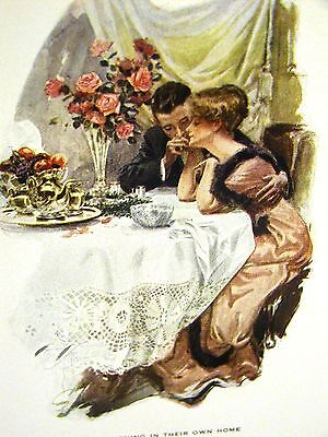Harrison Fisher Girl BRIDE on her FIRST NIGHT NEW HOME 1912 Antique Print Matte