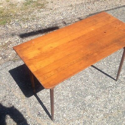Antique Paneled Wood Folding Sewing Table South Paris Maine Type w/ Yard Measure