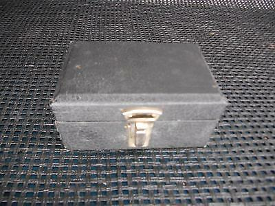 Antique Wood Storage Equipment Box Black Velvet Lined Old Vtg