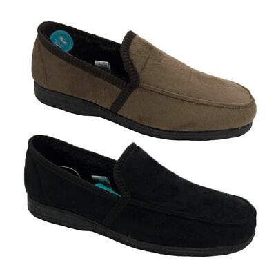 Mens Slippers Grosby Michael Slipon Black Brown Memory Foam MicroSuede Size 6-12