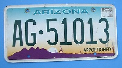 """Arizona Apportioned License Plate """" Ag 51013 """" Semi Pro Rate Irp Truck Trailer"""