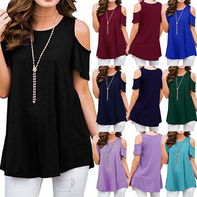Womens Cold Shoulder Solid Tops T Shirt Short Sleeve Summer Top Blouse Plus Size
