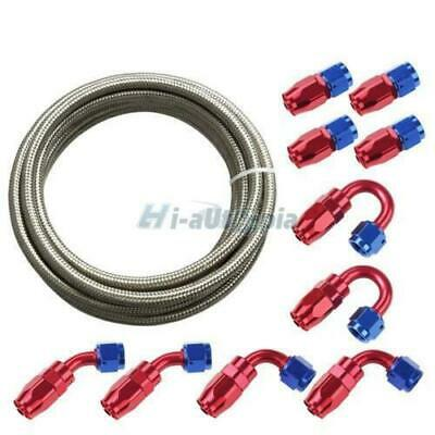 New 20Ft Stainless Steel Braided Fuel Line Hose with 6 Swivel 8AN Connector Ends