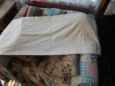 "Vintage 44"" Long X17""  White  Thick Flannelette Bolster Or Double Pillow Case"