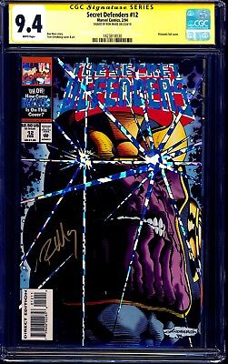 Secret Defenders #12 CGC SS 9.4 signed Ron Marz THANOS FOIL COVER NM
