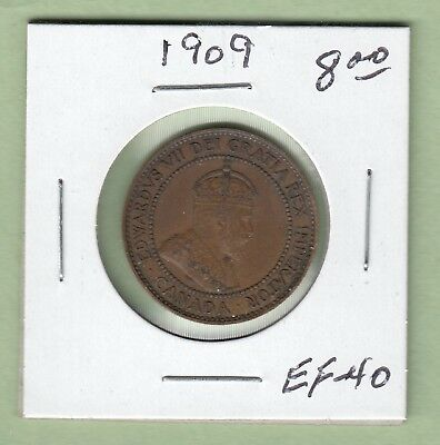 1909 Canadian Large One Cent Coin - EF-40
