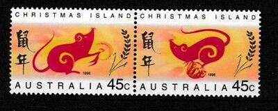 1996 Christmas Island.  Year of the Rat.   45c se-tenant pair MUH.