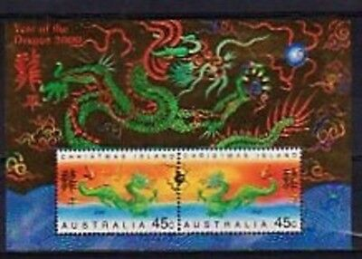 Christmas Island. 2000 Year of the Dragon miniature sheet.  MUH.