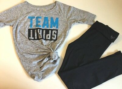 JUSTICE Girls size 10 TEAM SPIRIT CHEER TUNIC YOGA PANTS OUTFIT EUC