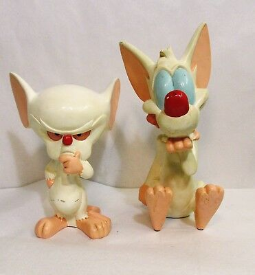 """Warner Brothers Animaniacs - PINKY AND THE BRAIN STATUES FIGURES 1997 14.5"""""""