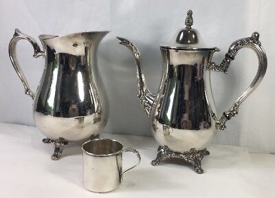 Oneida Silver Plate Coffee Pitcher, International Water Pitcher, Rogers Baby Cup