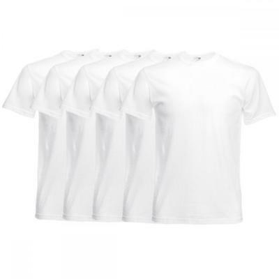 1 5 10 20 Wholesale Pack Fruit of the Loom Men's White Cotton T Shirt Tee S-5XL