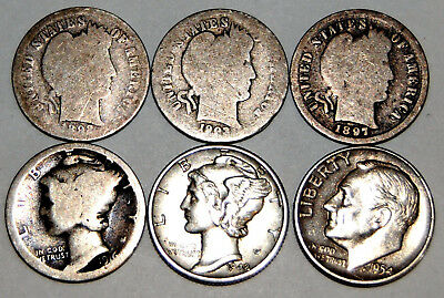 1992, 1993, 1997 Barber, 1916 S & 1942 D  Mercury and 1954 S Roosevelt Dime