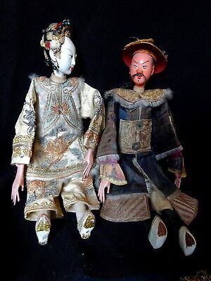 Antique Chinese Qing Dynasty Court couple Opera Dolls Signed