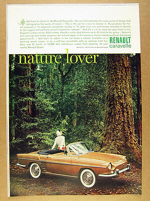 1961 Renault CARAVELLE Convertible car forest trees photo vintage print Ad