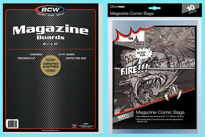 "10 BCW MAGAZINE SIZE 8.5"" x 11"" BACKING BOARDS & ULTRA PRO BAGS Storage 8-3/4"""