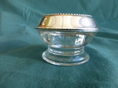 Sterling Silver and Glass Individual Open Salt Dip or Cellar