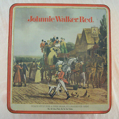 Johnnie Walker Red Scotch Whiskey Collectible Tin Box 1984 Kilmarnock Coach Stop