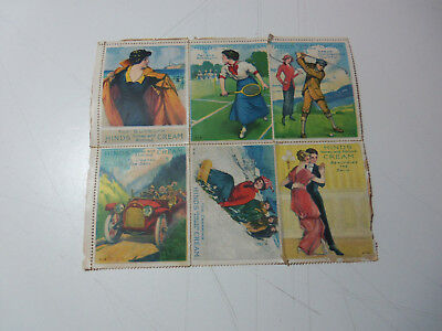 1915 Lot 6 HINDS Honey Almond CREAM Stamps GOLF TENNIS AUTOMOBILE Cards Stickers