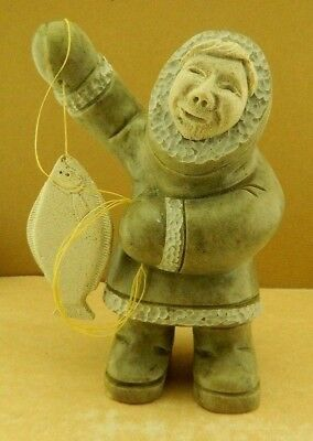 Alaskan Alaska Soapstone Carving Native Eskimo Fisherman With Halibut Fish