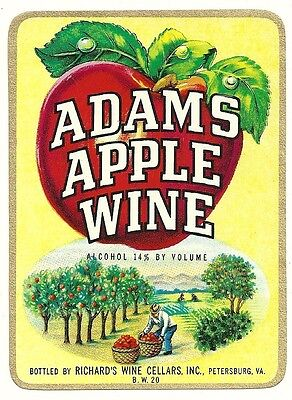 Vintage Adams Apple Wine Label  Richard's Wine Cellars Inc. Petersburg,Virginia