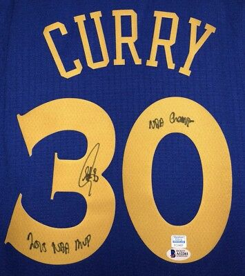 79bcdb761 Stephen Curry Autographed Inscribed NBA Warriors Signed Jersey (BAS   CURRY  ...
