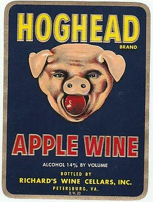 HOGHEAD APPLE WINE Vintage Bottle Label Richard's Wine Cellars Petersburg,Va.