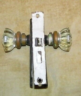 Antique door knobs=fancy glass star burst handles,with back plates complete set