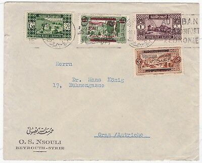 # 1936 Beyrouth Syrie Incl 2 Stamps Overprinted Republique Libanaise To Austria