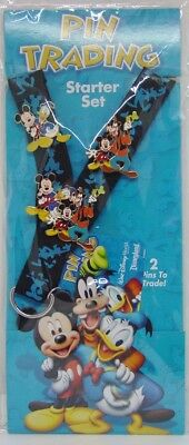 Disney Trading Pins ** ORIGINAL PALS BLUE **  STARTER SET with LANYARD Set of 4