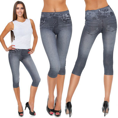 Womens Slimming Cropped Leggings Denim Look Ladies 3/4 High Waist Pants M796