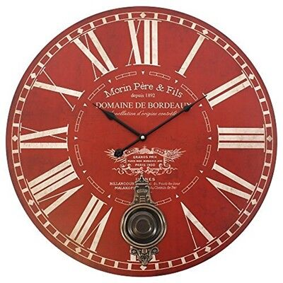Large Red Morin Pere & Fils Wall Clock With Pendulum - 58cm Vintagestyle Beige