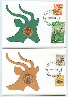 Lot of 7 1971 Malawi Decimal Variety Coin & Stamp Covers #108851 X