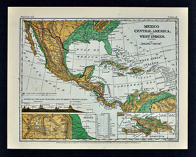 1871 Guyot Physical Map Mexico Central America West Indies Cuba Guatemala Panama