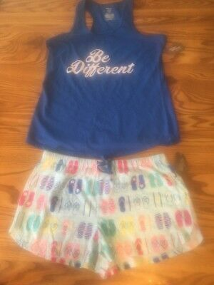 NWT Women's Secret Treasures PJ's Tank & Shorts 2 Pc Set Sleep Be Different M