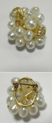 C717 Estate 14K Solid Yellow Gold Fresh Water Pearl Cluster Pin w/Gold Leaf Acct