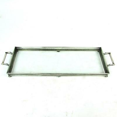 """Vintage Long 20"""" Rectangular Sterling Silver & Glass Serving Vanity Gallery Tray"""