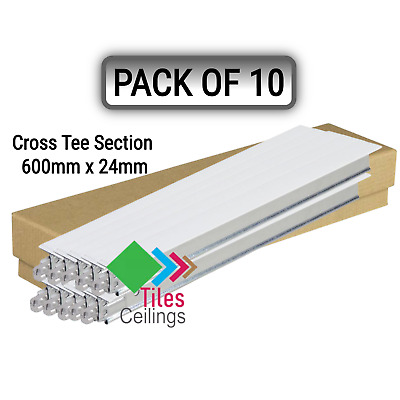 White Cross Tee Section, 600mm x 24mm, Suspended Ceiling Grid System T600