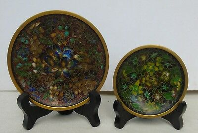Vintage Chinese Cloisonne 2 Small Plates w/ Wood Stands