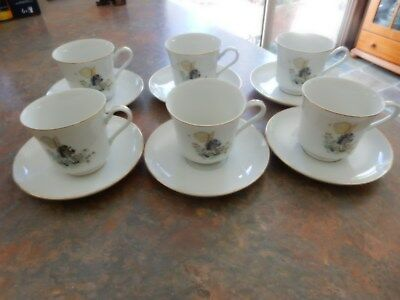 Vintage Holly Hobbie Yellow Girl 6 Cups And Saucers