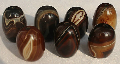 130g 7Pcs Banded Eyed Nepal Indo Tibet Agate Old Bead Amulet for Gift