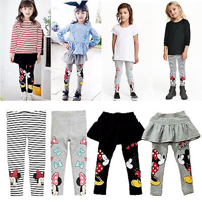 Kids Girls Leggings Minnie Mouse Pants Stretchy Cotton Long Trousers Stockings