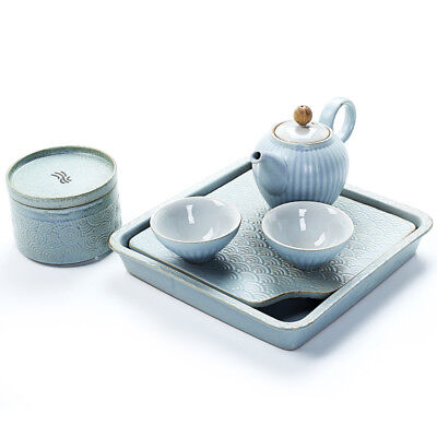 limited stock Chinese kungfu tea set with tea plate reservoir tea tray pot cups