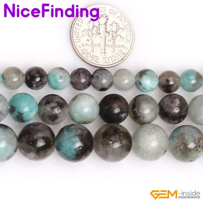 "Natural Black Green Madagascar Amazonite Stone Loose Beads Jewelry Making 15"" NF"