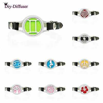 Aromatherapy Pu Leather Stainless Steel Aroma Essential Oil Diffuser Locket Bracelet+10pads