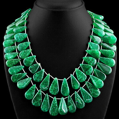 1058.00 Cts Earth Mined 2 Strand Pear Shape Rich Green Emerald Beads Necklace