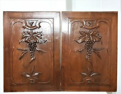 PAIR WOOD ART PANEL Antique french grapes vine carving architectural salvage